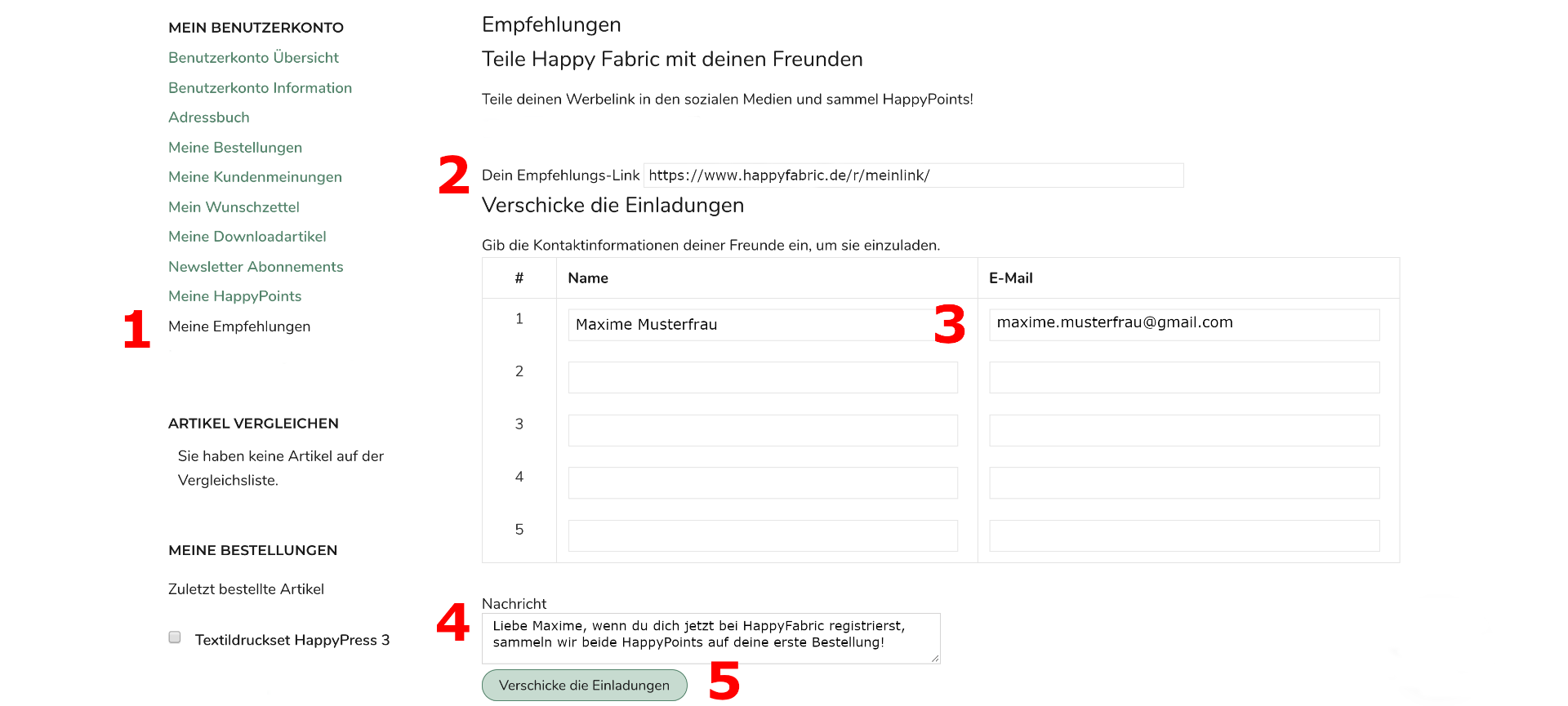 Screenshot of the Refer a Friend process